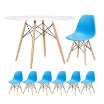 KIT - Mesa redonda Eames 120 cm + 6 cadeiras Eiffel DSW - Loft7