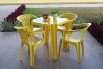 Kit Mesa Tambaú + 4 Cadeira Basic - Atalaia AMARELO - Tramontina -