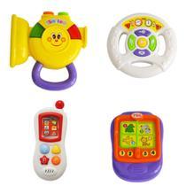 Kit Meu Primeiro Brinquedo Interativo Alimentação - Corneta / Volante / Telefone / Livrinho - BR1023 - Multikids Baby