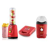 Kit Mickey Mallory Liquidificador + Pipoqueira + Sanduicheira Vermelho 110V -