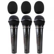 kit Microfone Com Fio Kadosh KDS-300 Com 3 Unidades + Cabo e Espuma -