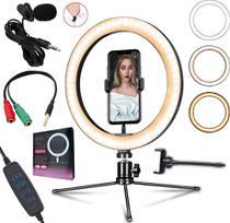Kit Microfone de Lapela + Luz Iluminador Anel Led Ring Light Tripé de Mesa Celular Smartphone Universal Gravação Vídeo - Leffa Shop