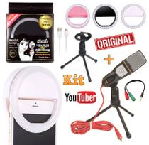 Kit Microfone de Mesa Condensador Profissional Para Pc Celular Iphone Android Universal + Luz Flash Ring Light Youtuber - Leffa shop