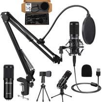 Kit Microfone Estúdio Profissional Suporte Móvel Bm800usb - Vedo