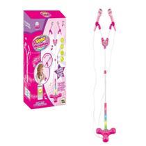 Kit microfone infantil duplo com pedestal som e luz de led colorida karaoke conecta no celular rock show meninas - GIMP