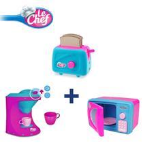 Kit Microondas + Cafeteira + Torradeira Acessórios Luz E Som - Usual Plastic