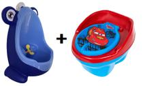 Kit Mictório Infantil Sapinho Azul/Azul + Troninho Disney Carros 2 em 1 - Micbaby + Still Baby