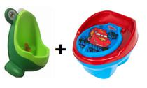 Kit Mictorio Infantil Sapinho Verde Nacional + Troninho Pinico Carros 2X1 Styll Baby - Sitll Baby + MicBaby