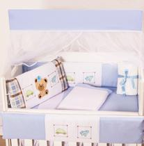 Kit Mini Berço Masculino Fred Azul 10 Peças - Happy Baby