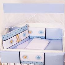 Kit Mini Berço Masculino Império Azul 10 Peças - Happy Baby