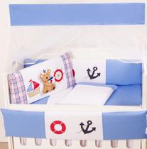 Kit Mini Berço Masculino Marujo Azul 10 Peças - Happy Baby