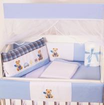 Kit Mini Berço Masculino Teddy Azul 10 Peças - Happy Baby