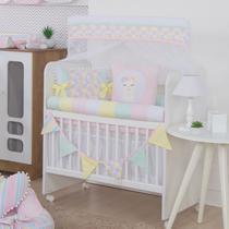 Kit Mini Berço Rolinho Lhama Rosa Candy Colors - Bebê Enxovais