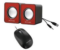 Kit Mini caixas de som e mouse óptico  ergométrico com fio para computadores e notebooks PC - Multilaser