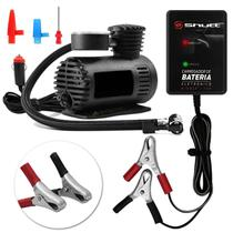 Kit Mini Compressor De Ar Compacto 12V 300PSI e Carregador De Bateria Automotivo Portátil Multilaser - Shutt