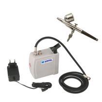 Kit Mini Compressor Wimpel + Aerógrafo Dupla Ação Completo -