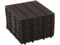 Kit Mini Deck de Polipropileno Frisado Ipê 30x30cm - Massol DE2842 10 Peças