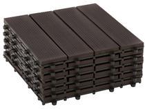 Kit Mini Deck de Polipropileno Frisado Ipê 30x30cm - Massol DE2842 6 Peças
