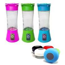 Kit Mini Liquidificador Fitness Portátil Recarregável Com Caixinha de Som Bluethooth - Juice