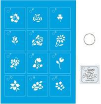 Kit Mini Stencil Flores Com 14 Peças 4,5cm STMI-004 Litoarte -