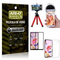 Kit Mini Tripé + Selfie Ring Light LG K51s + Capa Anti Impacto + Película Vidro 3D - Armyshield