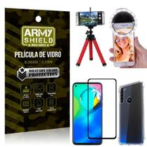Kit Mini Tripé + Selfie Ring Light Moto G8 Power + Capa Anti Impacto + Película Vidro 3D - Armyshield
