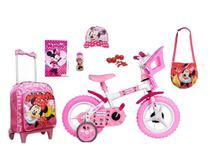 Kit Minnie Mouse Bicicleta + Mochila + 5 itens - Exp