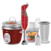 Kit Mixer Delight Vermelho e Panela Facile Oster -