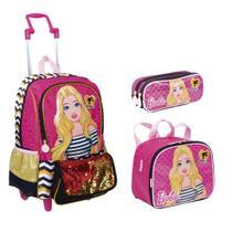 Kit Mochila Barbie Meninas Escolar Infantil G Com Bolsinha Lancheira E Estojo - Sestini