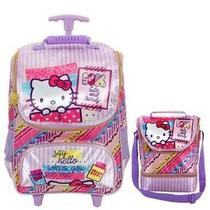 Kit Mochila com Rodinhas Hello Kitty Washi Pink com Lancheira -