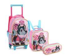 Kit Mochila Com Rodinhas Infantil Feminino Pet Dog Rosa - Seanite -