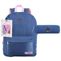 Kit Mochila de Costas + Necessarie Patches Jeans Capricho - Dermiwil -