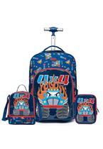 Kit mochila de rodinha + lancheira + estojo spector carro infanti escolar -