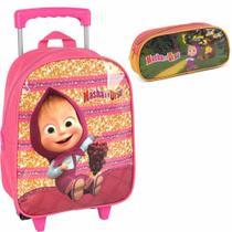 Kit mochila de rodinhas com estojo masha e o urso pink - Luxcel