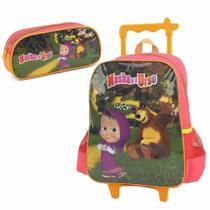 Kit mochila de rodinhas com estojo masha e o urso verde - Luxcel