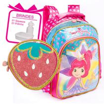 kit mochila e lancheira da Moranguinho menina infantil escolar costas top - Luxcel
