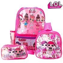 Kit Mochila Escolar Boneca Lol Surprise Infantil de Costas