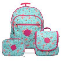 Kit Mochila Escolar Feminina Tamanho G Rodinhas Flamingo Azul - Mac mochilas