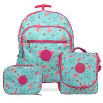Kit Mochila escolar, Infantil feminina rodinhas flamingo - Mac Mochilas