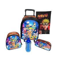 Kit Mochila Escolar Infantil Naruto Com Lancheira Térmica Estojo Toalha e Garrafinha - Cass