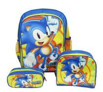 kit Mochila Escolar Infantil Sonic Costas - sm