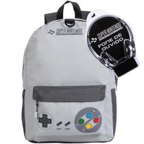 Kit Mochila Escolar Super Nintendo + Fone De Ouvido - DMW -