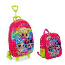 Kit Mochila Infantil 3D c/3 Rodinhas e Lancheira LOL Neon - Diplomata
