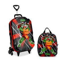 Kit Mochila Infantil 3D c/3 Rodinhas e Lancheira Tartarugas Ninjas - Diplomata