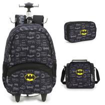 Kit Mochila Infantil Batman com Lancheira e Estojo 100 Pens -