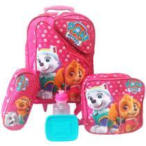 Kit Mochila Infantil Feminina Patrulha Canina Tam G Rodinhas - School Bags