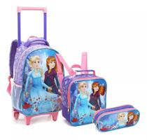 Kit Mochila Infantil Feminina Princes on ice Com Rodinha Escolar Seanite - KT14546 Lilas -