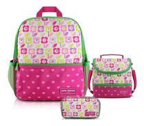Kit Mochila Infantil Lancheira Necessaire Flor Pink - Jacki design