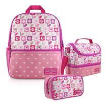 Kit Mochila Infantil Lancheira Necessaire Flor Rosa - Jacki design