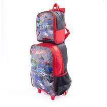 kit mochila infantil menino hot wheels rodinha grande G com lancheira térmica escolar - Luxcel